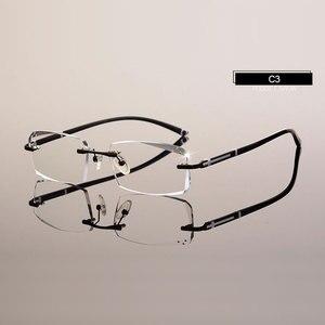 Image 5 - Модные очки A001 Алмазная оправа для очков без оправы для мужчин
