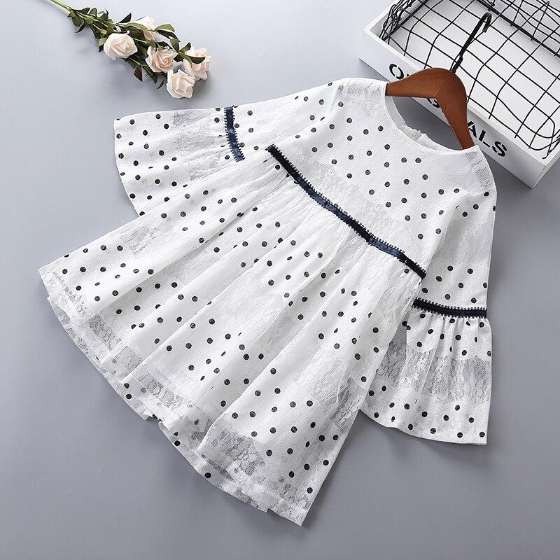 Платье для девочек, повседневное кружевное платье в горошек с длинным рукавом для девочек на весну 2019