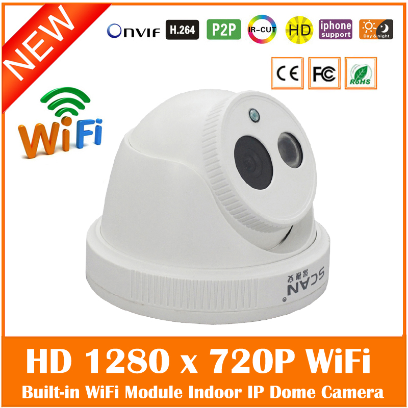 Motion Detect Hd 1.0 Mp 720p Ip Camera Built-in Wifi H.264 Onvif P2p Remote Indoor Night Vision Network Webcam Freeshipping Hot hd sony exmor imx122 cmos 2 0mp ip camera 1080p color image night vision support onvif p2p motion detect indoor dome ip camera