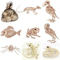 Мини-скелет череп пластик скелет кости для ужасов Хэллоуин украшения для Хэллоуина пари бар дом с привидениями мышь змея