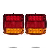 20 LED 2PCs Truck Trailer Lorry Caravan Stop License Plate Lights 12V Waterproof Rectangle Warning Lamps