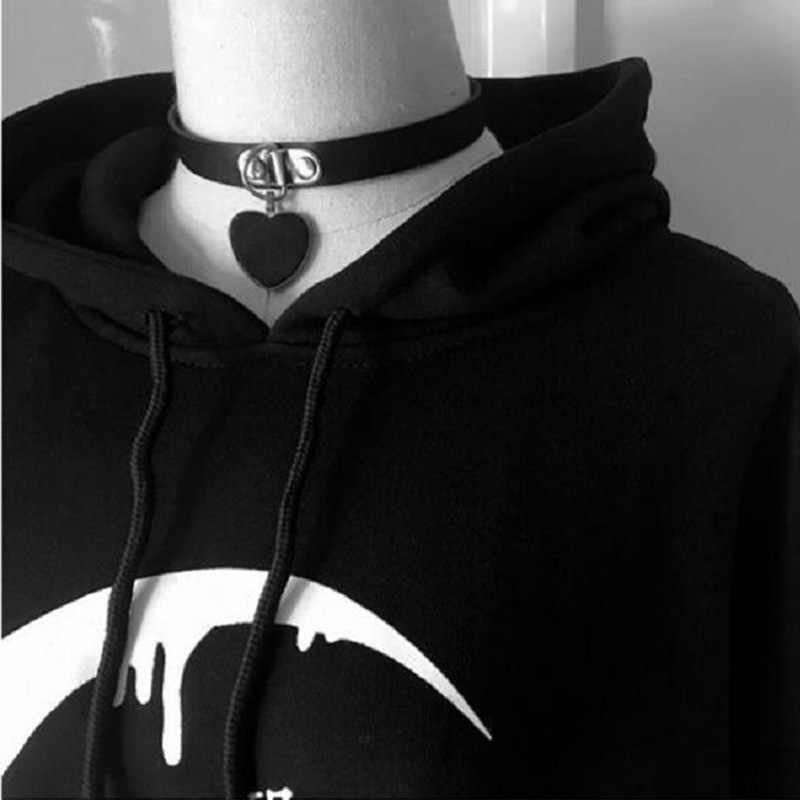 Estilo gótico Outono/Inverno Lua de Punk Carta Impressão Plus Size Pullovers Camisolas das Mulheres de Veludo Com Capuz Top Roupas do Dia Das Bruxas