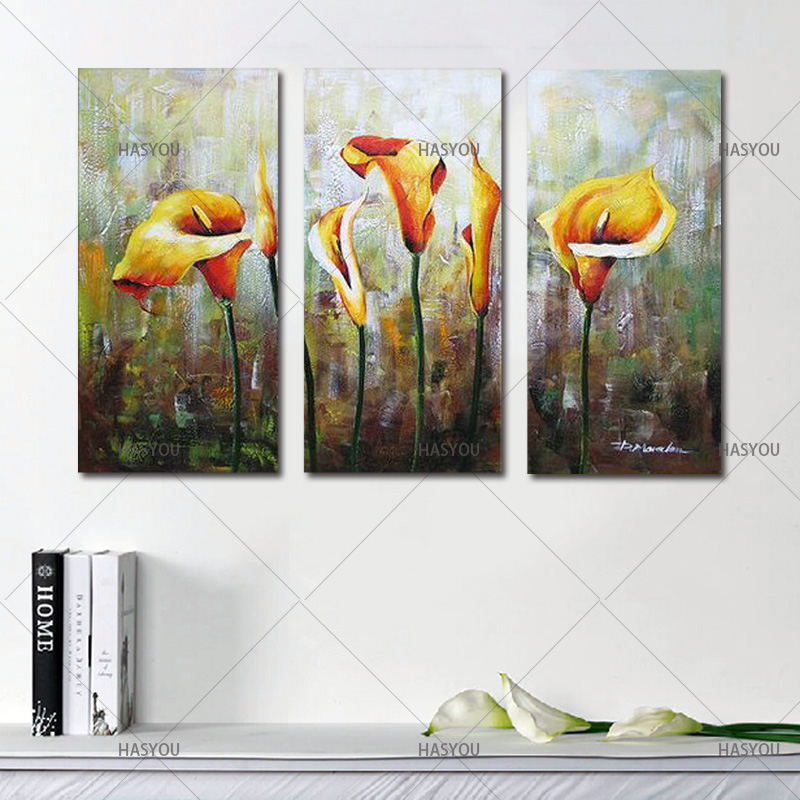 Hand-Painted-3pcs-Modular-Calla-Lily-Flower-Picture-Oil-Painting-On-Canvas-Wall-Art-Gift-Living