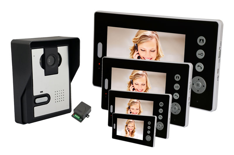 1V4 One Camera Four Monitor 7 Inch  2.4Ghz Wireless Camera Intercom  IR Night Vision Video Door Phone 7 inch video doorbell tft lcd hd screen wired video doorphone for villa one monitor with one metal outdoor unit night vision