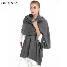 GERINLY Cachemire Écharpe Femmes Solide Couleur Design Couverture Écharpe  Hiver Chaud Foulards Hijab Châle Gland Pashmina 39bd90ab2ae