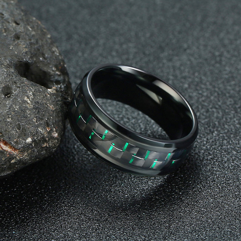 Hip Hop For 8MM stainless steel carbon fiber ring Four colors optional Men Jewelry Dropshipping 7 12Size in Rings from Jewelry Accessories
