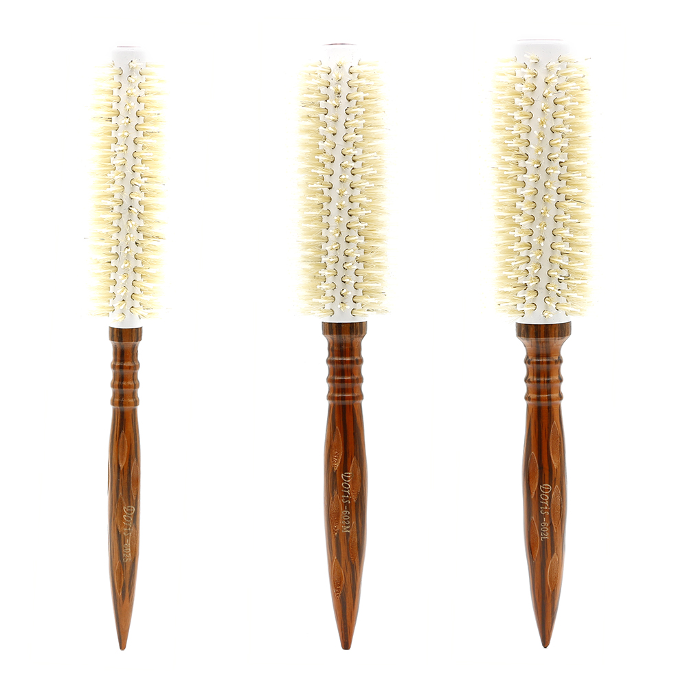 Heat Resistant Antistatic Wood Hair Round Brush With Nylon Teeth And White Bristle 3 Saiz Hairdressing Hair Round Curly Comb