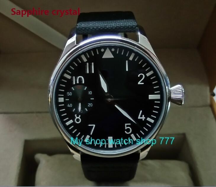 купить Sapphire crystal 44mm PARNIS black dial Asian ST3600/6497 Mechanical Hand Wind movement green Luminous men's watches sd345a по цене 5507.8 рублей