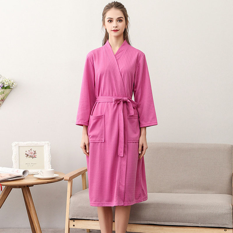 Hot Sale Women Cotton Nightgown Summer Kimono Robe Bathrobe Gown Ladys Casual Sleepwear Solid Color Home Clothes Loose Nightwear