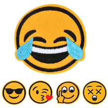 New 15PCs Embroidered Emoji Patch Iron-On Patches For Clothing Jeans Hat Stripes Stickers Patches For Clothes Applique(China (Mainland))