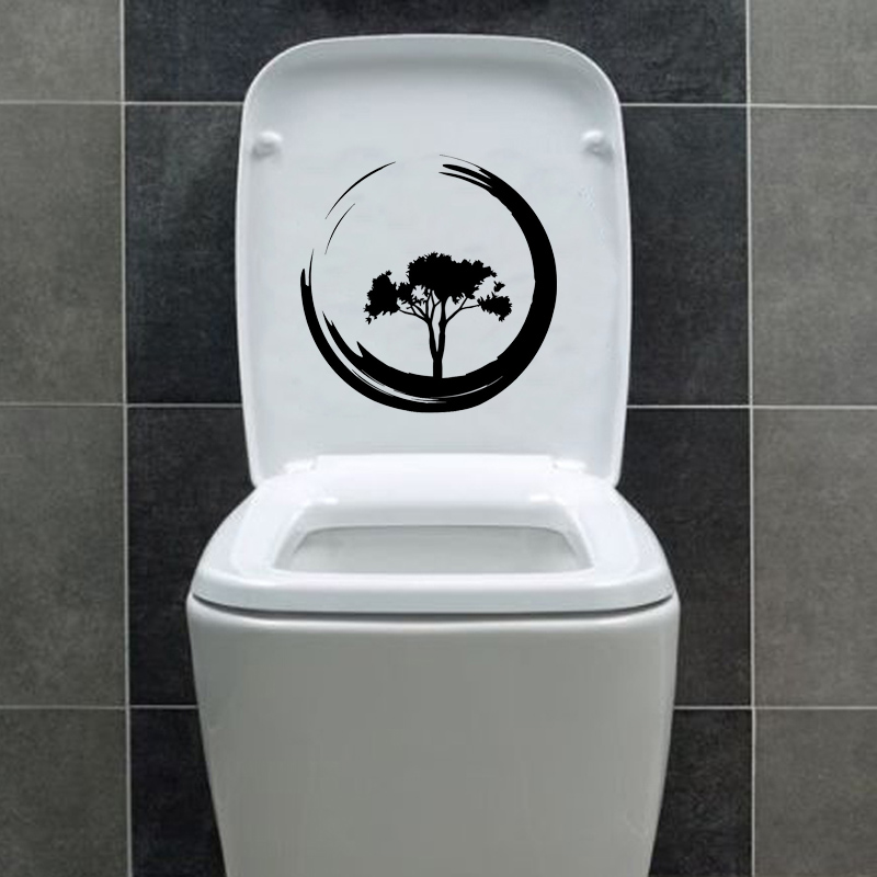 € 0.97 40% de réduction|Arbre cercle Enso Zen bouddhisme salle de bain  Stickers muraux autocollants de toilette vinyle 6WS0106-in Stickers muraux  from ...