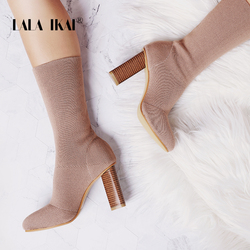 LALA IKAI Womens Warm Winter Boots High Heels Slip-On Socks Boots Pointed Toe Ladies Stretch Ankle Knitting Shoes 014C2577 -4
