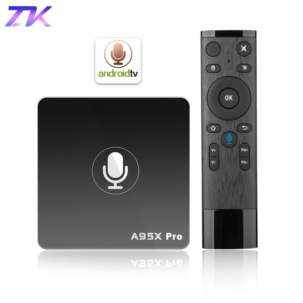 Google TV Box A95X Pro 2g 16g Astuto di Android 7.1 TV Box di Controllo Vocale Amlogic S905W WiFi LAN HD Media Player PK X96mini X96 mini