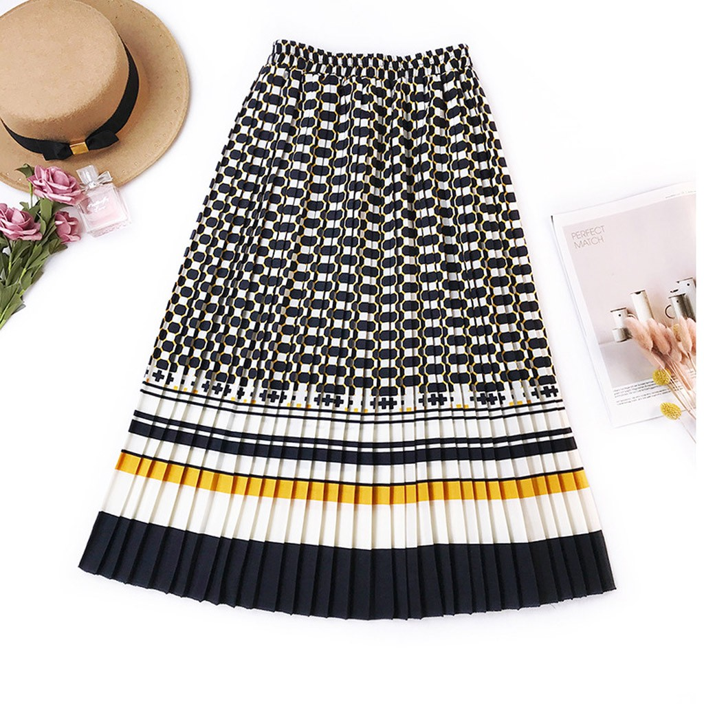 Fashion Women's skirt skirts womens jupe femme faldas mujer moda 2020 Printed Pleated Stripes Contrast Color Casual Skirt Z4