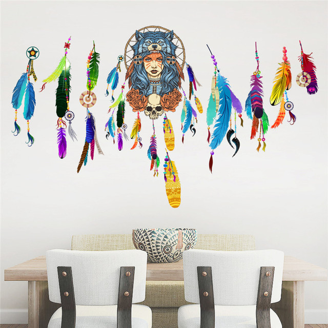 dream catcher pvc wall sticker home decor flying feathers night