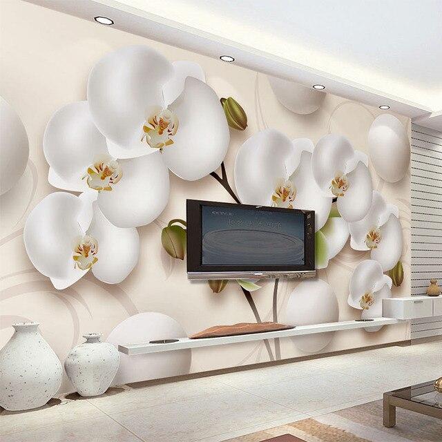 3D Wallpaper Modern HD Stereo Flores Orquídea Branca Foto Murais De Parede  Sala De Estar Sofá