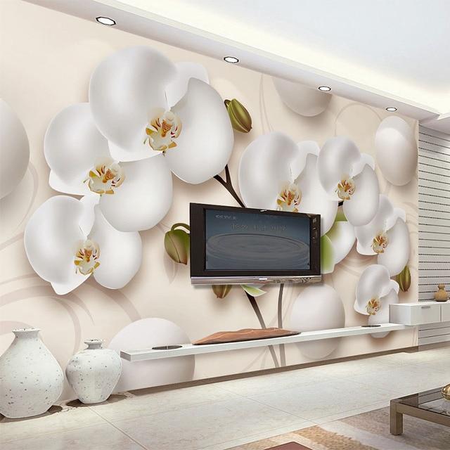 3D Wallpaper Moderne HD Stereo Orchidee Weiße Blumen Foto ...