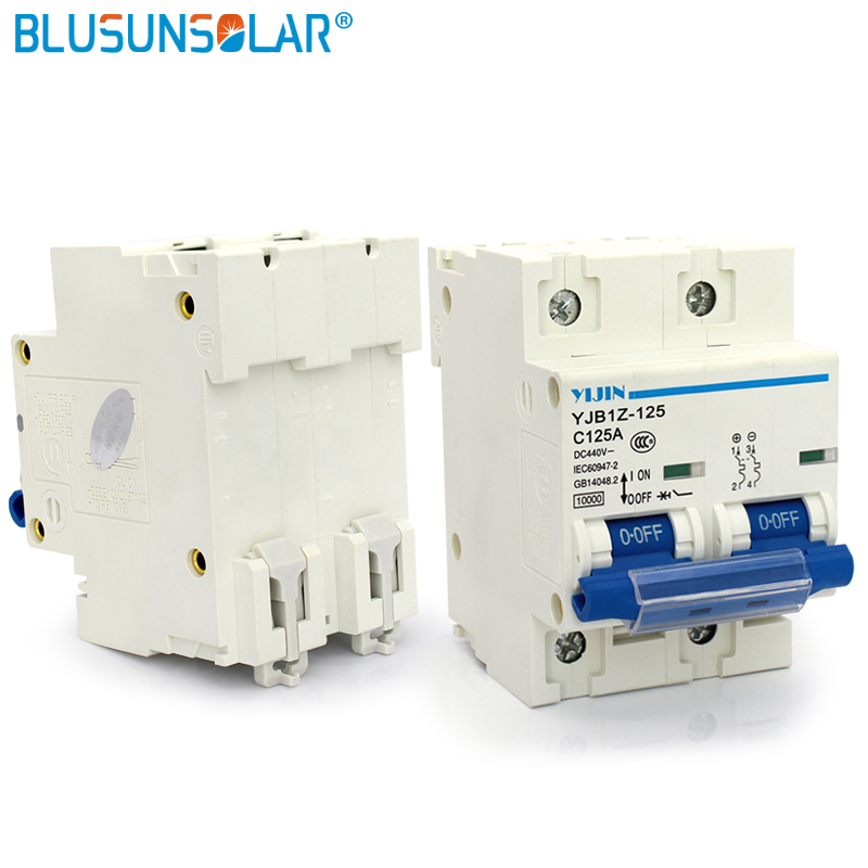 A lot 2 pieces 2P 125A DC440V SOLARB Solar Energy Photovoltaic PV Mini DC Circuit Breaker Used For Solar Power System DL0232