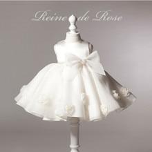 Новое поступление! Девушка мода o-образным вырезом рукавов большой бант белый пачка платья для девочек девочка бальное платье