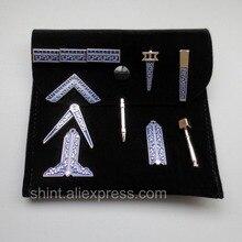 Масонский миниатюрный Рабочий набор инструментов с черным бархатным мешком масон, вольный каменщик подарок