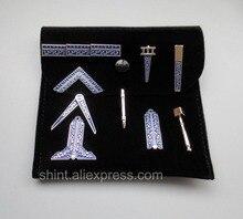 Masoński miniaturowe pracy narzędzia zestaw z czarna aksamitna torba Mason masonem prezent