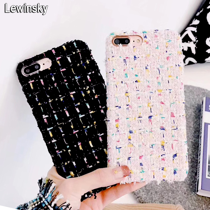 Cute Candy Colors Cotton lattice Wool Cloth Phone Cases For iPhone X 8 7 6 6s plus Soft back Cover For iphone 7 Leather PU Cover