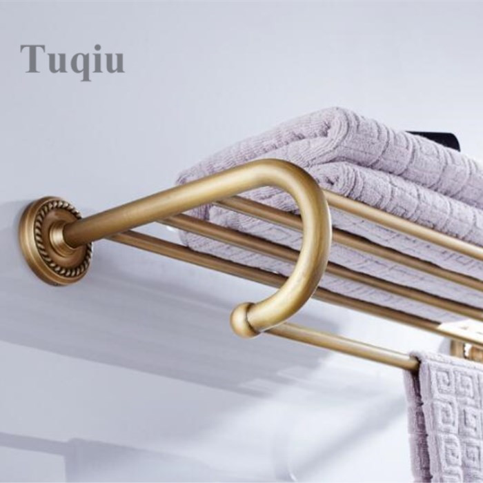 Antique Bronze Fixed Bath Towel Holder Wall Mounted Towel Rack 60 cm Towel Shelf Bathroom Accessories Carved Towel Rail high quality 60 cm gold antique bronze fixed bath towel holder wall mounted towel rack brass towel shelf bathroom accessories