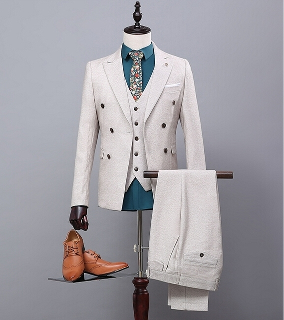 Man Prom Suits Ternos Masculino Para Casamento Mens Cream Suit Customized Male Tuxedos 3 Piece Design New NAZH1 Costume Homme