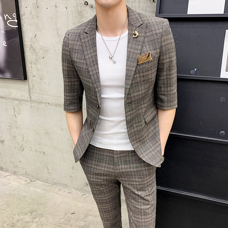 2019 New Men's Fashion Business Casual Seven-point Sleeve Suit/men's Solid Color Plaid Slim Suit Two-piece Set/ Slim Suit Men