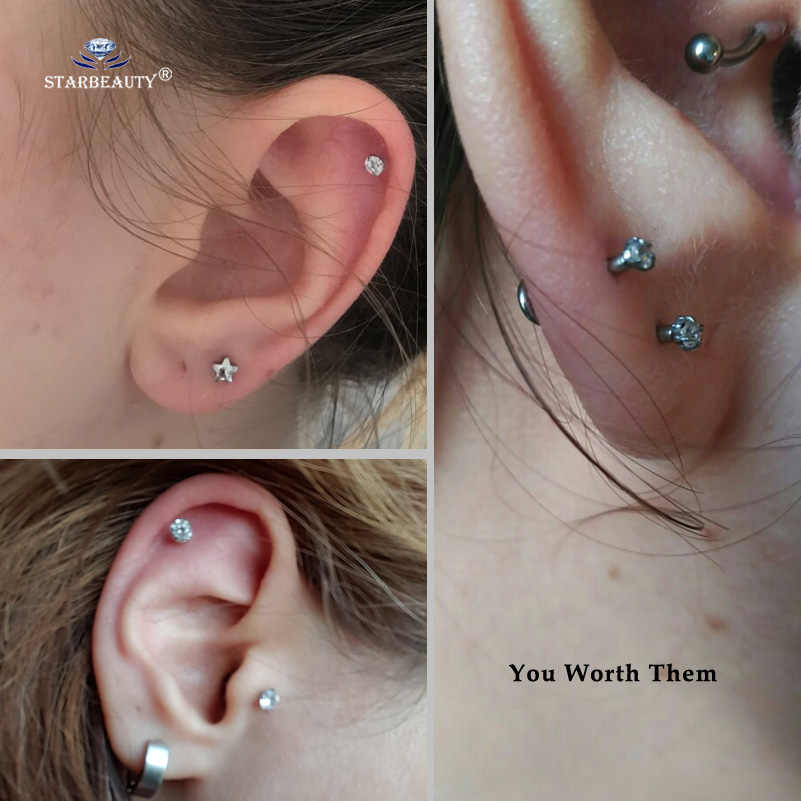 Starbeauty 16g 6mm Round Clear Bijoux Nose Piercing Labret Lip Ring Helix Piercing Tragus Piercing Nose Ring Pircing Ear Jewelry