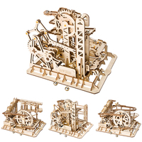 3D Wood Puzzles Toys Creative Marble Run Game DIY Waterwheel Coaster Wooden Model Building Kits Assembly Toy Gift for Children