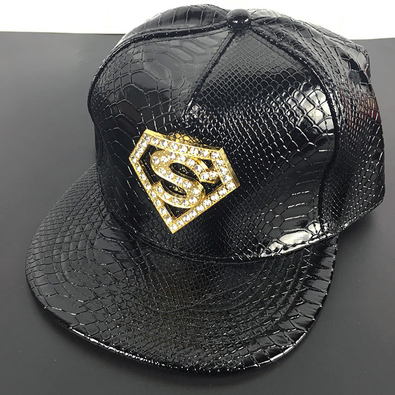 9662f80e066 PU snapback Superman Baseball caps Diamond S brand couple leather Hip Hop  Hat man women New Arrive Fashion cotton casual Sun Hat