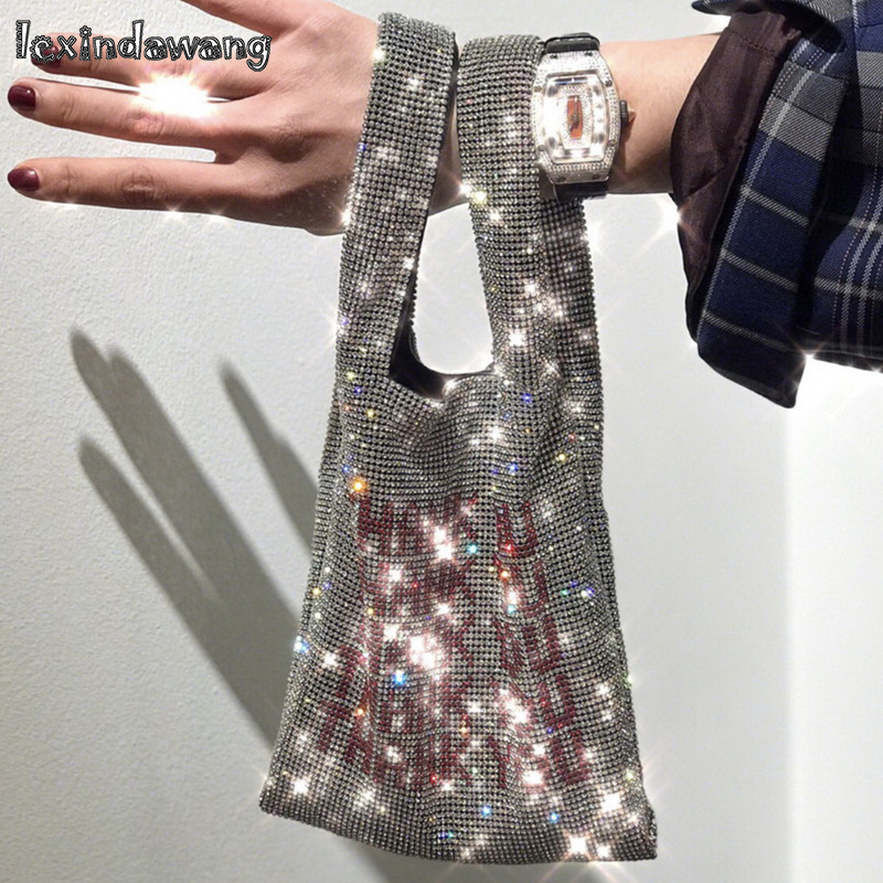 Thank You Sequins Bags Crystal Bling Women Small Tote Bags Glitter Beads Fashion Lady Bucket Vest Handbags Girls Luxury Purses