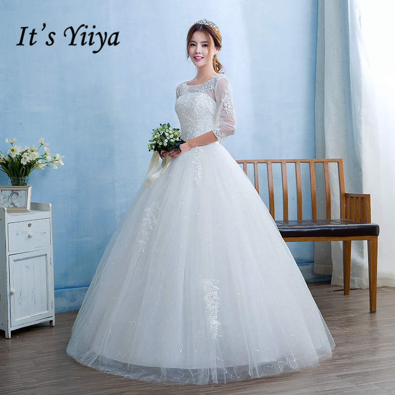 New 2017 Real Photo O-neck Transparent Lace Full Sleeves Wedding ...