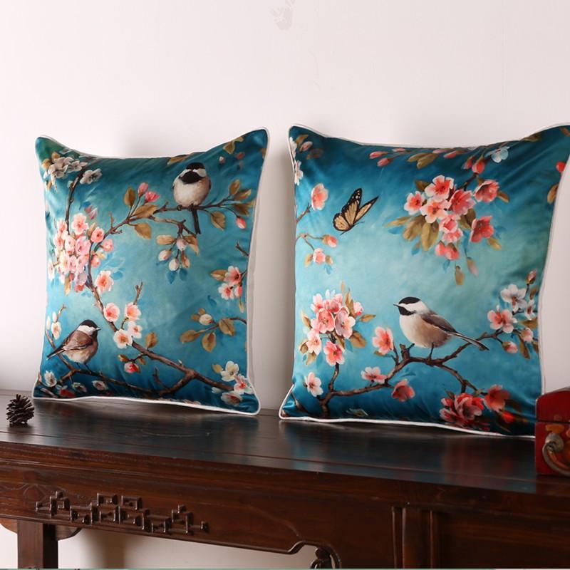 Europe High Grade Emulation silk Cushion Covers Flower & Bird Printed Throw Pillow Cover For Home Sofa Cushions Pillows Decor