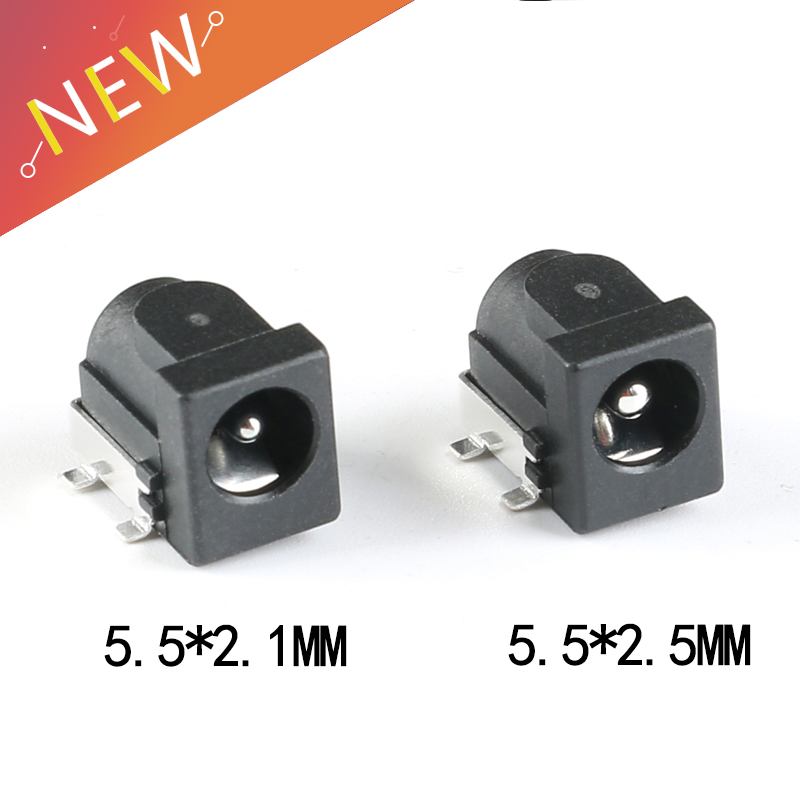 10Pcs SMD DC-005 DC-050 DC Power Jack Socket Connector DC005 5.5*2.1mm 5.5*2.5mm 2.1 / 2.5 Socket Round The Needle Black