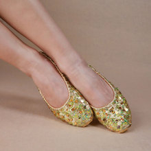 XL Size Synthetic Leather Shoe For Dancing Soft Gold Silver Sequin Oriental Belly Ballet Dance Shoes Women Flat