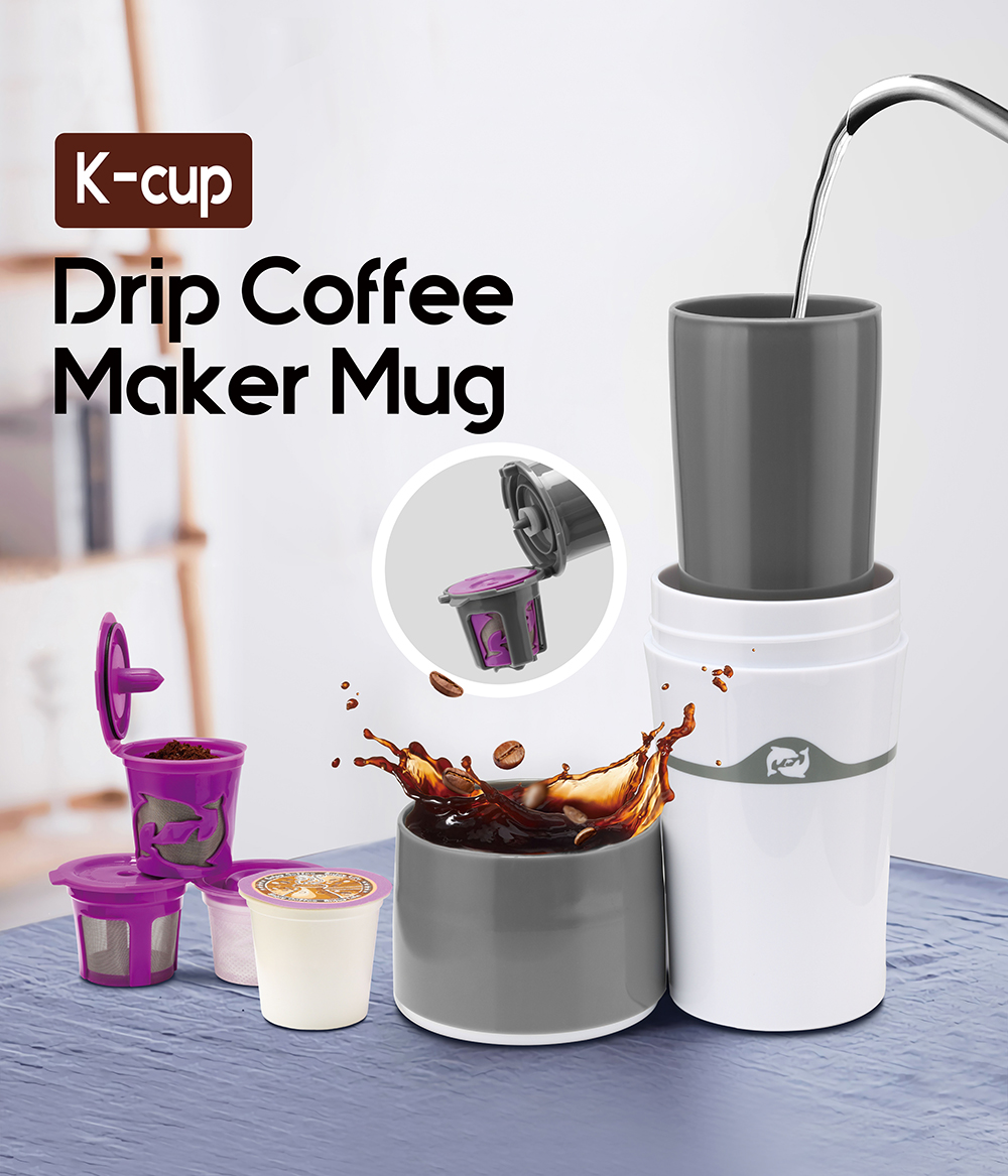 400ml Portable Travel Outdoor Mug Ice Drip Coffee Maker Multi Coffee Pot 2 pcs Reusable K Cups+5 pcs paper K cups For Free
