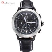 Brand Shark Sport Watch Waterproof Tag Date display Silver case Fashion Clock Black Leather Band 6 Hands Quartz-watch / SH356