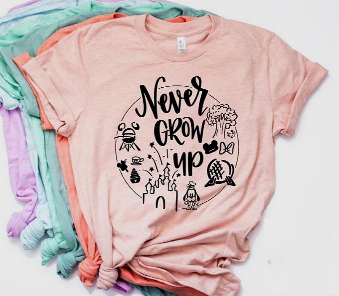 2019 New Women Casual T-shirt Girls Minnie Shirt Never Grow Up Graphic Tee  Tumblr Shirt Hipster Tees