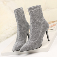 2019 Women Stretch Silver Sock Boots Stiletto 9cm High Heels Ankle Boots Autumn Sexy Glitter Cheap Winter Boots Short Warm Shoes