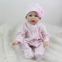 2016 Lovely 22 Inch Realistic Reborn Baby Girl Cloth Body Silicone Princess Babies NewbornToy With Pink Clothes Kids Playmate