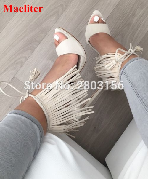 Sexy Peep Toe High Heels Sandals Fringe Pumps Lace Up Gladiator Tassel Party Shoes Women Zapatos Mujer dijigirls women pumps peep toe high heels gladiator sandals shoes woman party wedding flock leather stiletto lace up summer boot
