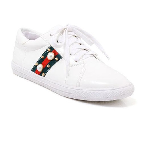 Female s Lace up Flats Patchwork Soft Bottom Sole Shoes With Crystal For Running  Plus Size 45 46 34 White Black Green Footwear-in Women s Flats from Shoes  ... 4bd46ea3d56a