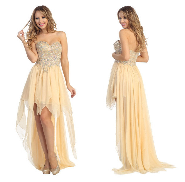 6f613b80b65 High Low 8th Grade Prom Dress Champagne Chiffon Beaded Long Back Short  Front Homecoming Dress For Teens Fast Shipping