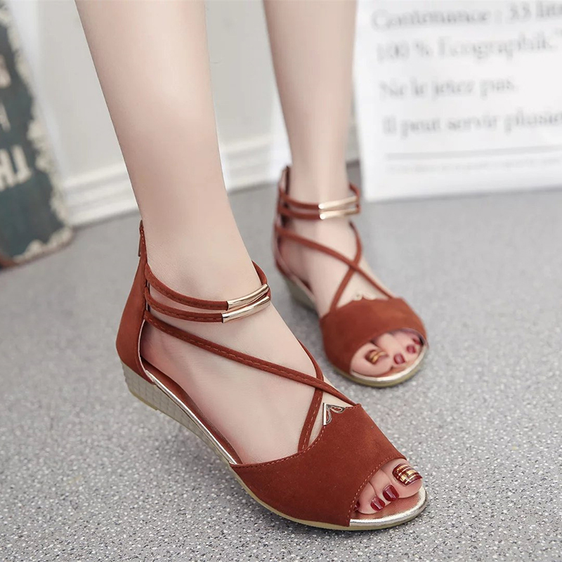 Rome wild fish mouth sandals female summer high heel  women's shoes after the Korean zipper shoes 2017 european summer with rome female high heeled sandals a cross strap fish mouth sexy toe lacing shoes fine with large yards