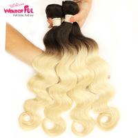 WAWonderful T1b613 Ombre Blonde Hair Bundle 10inch 30inch Dark Roots with #613 Body wave Hair Weave Brazilian Remy Human Hair