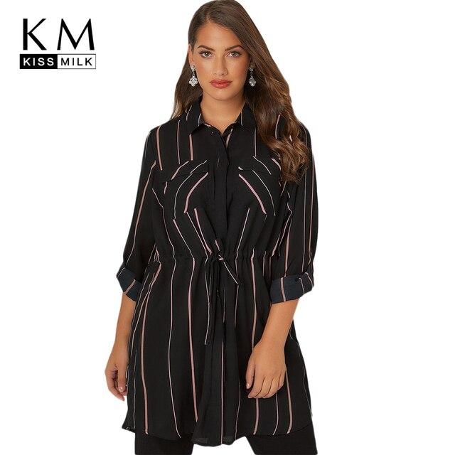 Kissmilk 2018 Plus La Taille Bande Office Lady Blouses Dentelle Up Manches Pleine Turn-down Collar Femme Vêtements Femmes Long tops 3XL-7XL