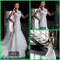 See Through Back Romantic Lace designer Wedding Dress 2015 Mermaid appliques cap sleeve real picture Wedding gowns