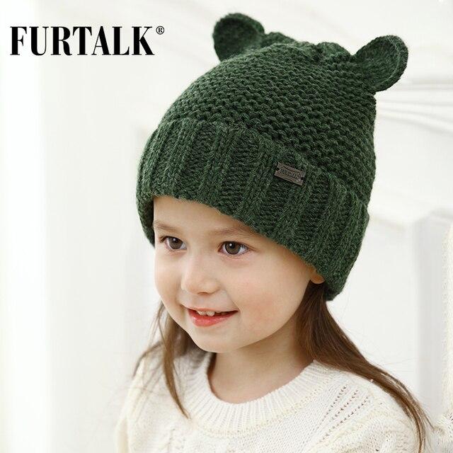FURTALK children's winter wool knit skullies beanie lovely baby ear hats for girls and boys